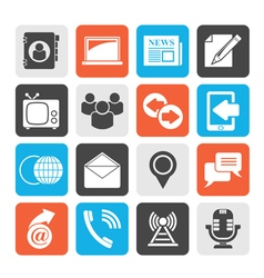 Silhouette Media and communication icons vector