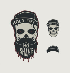 Skull head character vintage hand drawn design vector