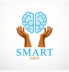 Smart care concept logo or icon design human vector