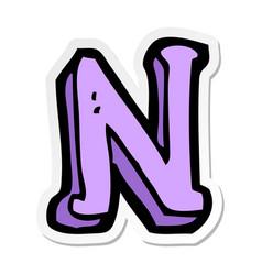 Sticker of a cartoon letter n vector