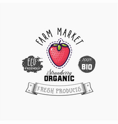 strawberry bio sticker and eco products vector image