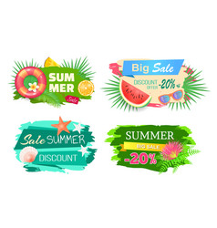 Summer time big sale banners vector