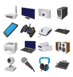Technology and devices cartoon icons set vector