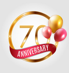 Template gold logo 70 years anniversary with vector