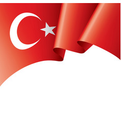 Turkey flag on a white vector