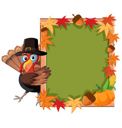turkey thanskgiving theme border vector image