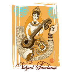 vasant panchami celebration design with goddess vector image
