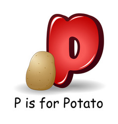 vegetables alphabet p is for potatoes vector image