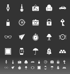 Vintage collection icons on gray background vector