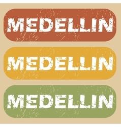 Vintage Medellin stamp set vector