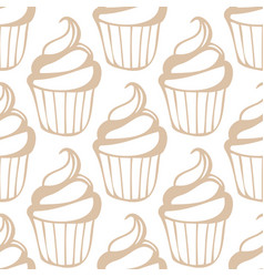 white cream cupcake seamless light beige pattern vector image