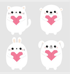 white rabbit cat kitten hare bear dog puppy head vector image