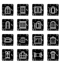 Window design icons set grunge vector