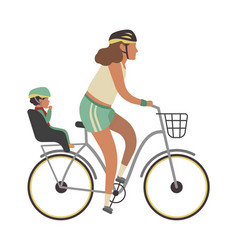 Woman and child on bicycle young happy vector