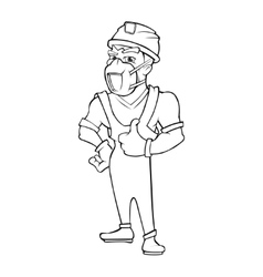 Worker in a helmet and respirator isolate on white vector