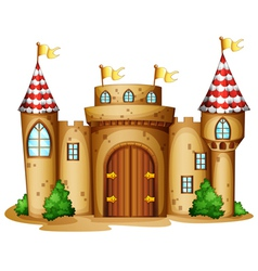 A castle with four banners vector image