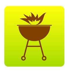barbecue with fire sign brown icon at vector image vector image
