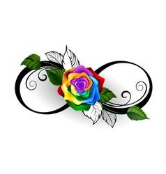 Infinity symbol with rainbow rose vector