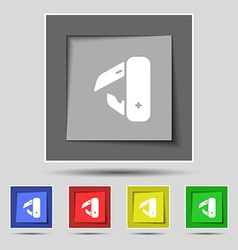 knife picnic icon sign on original five colored vector image vector image