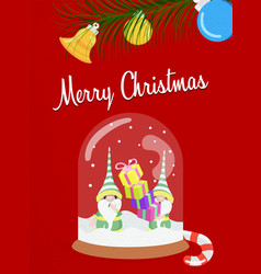 merry christmas fun snow globe elf greeting card vector image