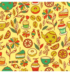 tea time seamless pattern set of elements vector image