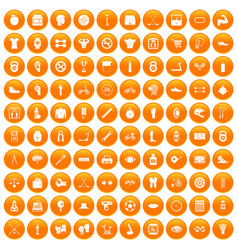 100 kettlebell icons set orange vector image vector image