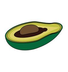 Colorful silhouette slice avocado fruit food vector