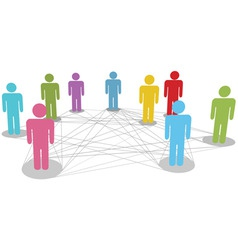 connect people business social network line connec vector image vector image