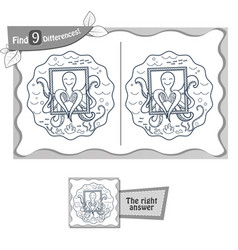 find 9 differences game 2 octopus vector image vector image