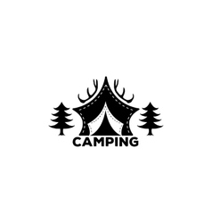 Logo Camping forest horns and tents for vector image vector image