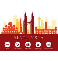 malaysia landmarks skyline with accommodation vector image vector image