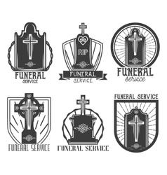 set funeral service logos Badges emblems vector image