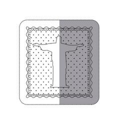 sticker monochrome contour frame of christ vector image vector image