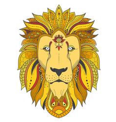 poster with zenart patterned lion vector image