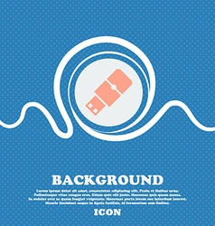 USB flash sign Blue and white abstract background vector image