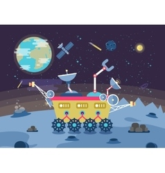 a lunar rover on the surface the vector image