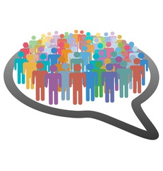crowd social media people speech bubble network vector image vector image