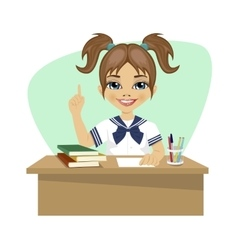 cute little girl sitting at desk having idea vector image