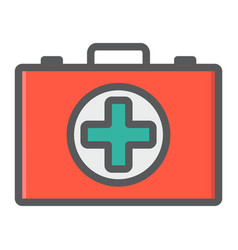 first aid kit box filled outline icon medicine vector image vector image