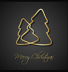 two golden christmas trees on black background vector image vector image