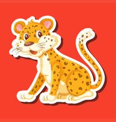 a leopard character sticker vector image