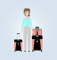 a young woman with suitcases and a travel bag vector image