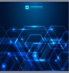 abstract geometric hexagon shape with glowing vector image