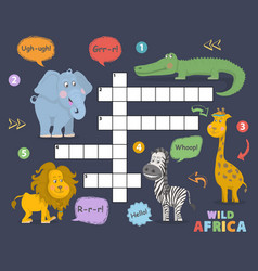 African animals crossword vector