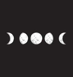 antique style hand drawn dot work moon phases vector image