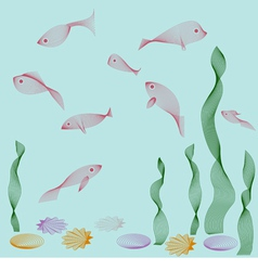 Aquarium objects fishes seaweed shells vector