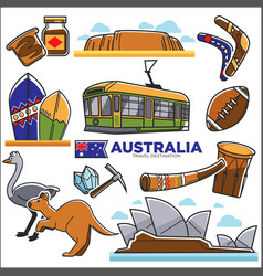 Australia travelling map with destinations vector