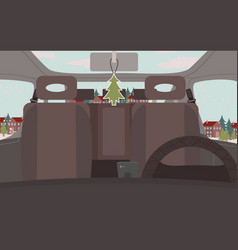 automobile winter road trip in countryside vector image