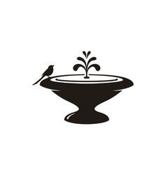 Bird water fountain stone garden decoration logo vector
