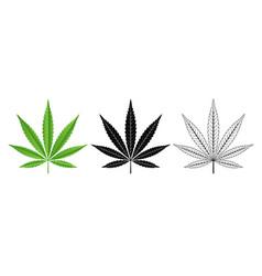 Black and green cannabis leaf logo design vector